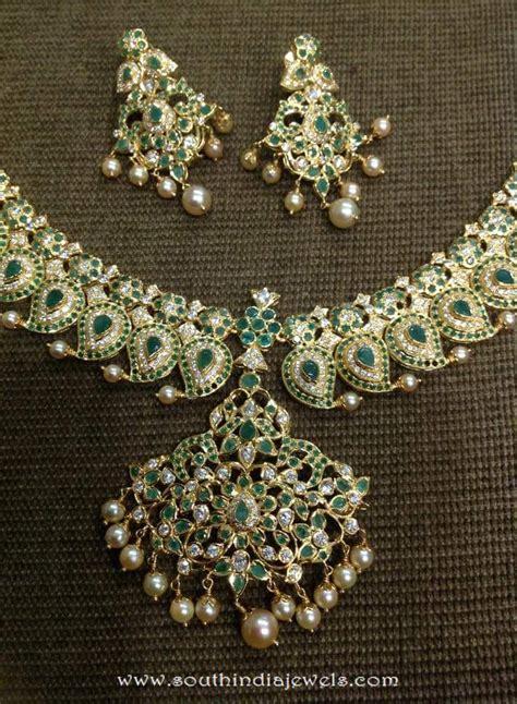 emerald mala gold emerald mango mala from dhanlaxmi jewellers south