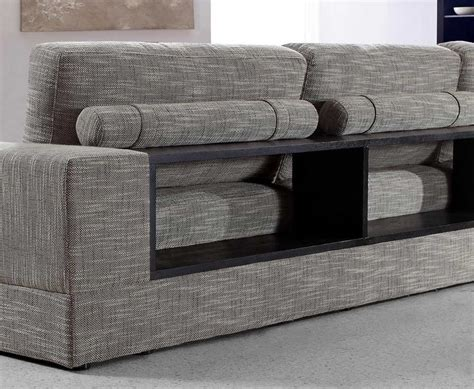 grey sectional sofas grey fabric sectional with wood shelves vg antonio