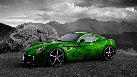Car Wallpaper Black And White by Green Car On Black And White Background Wallpapers And