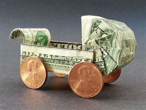 origami carriage money origami baby buggy dollar bill made with 1