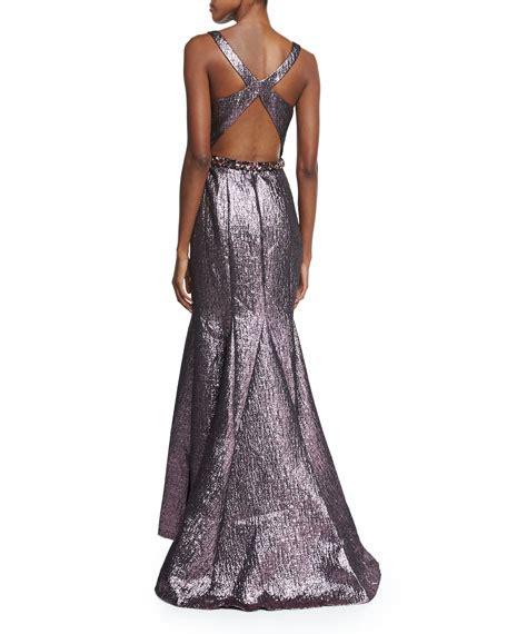 sleeveless beaded mermaid gown lhuillier sleeveless metallic beaded waist mermaid