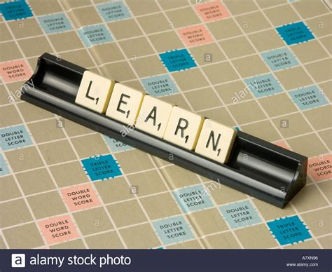 learn scrabble scrabble tiles spelling the word quot learn stock photo