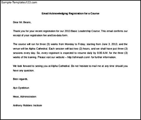 letter of email acknowledging registration for a course