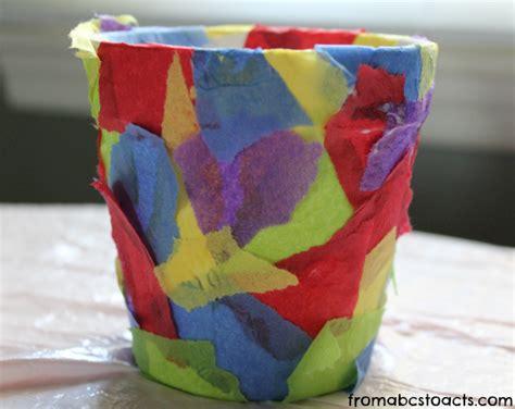 flower pot paper craft springtime crafts for tissue paper flower pot