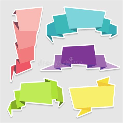 colorful origami set of colorful origami paper banners stock photography