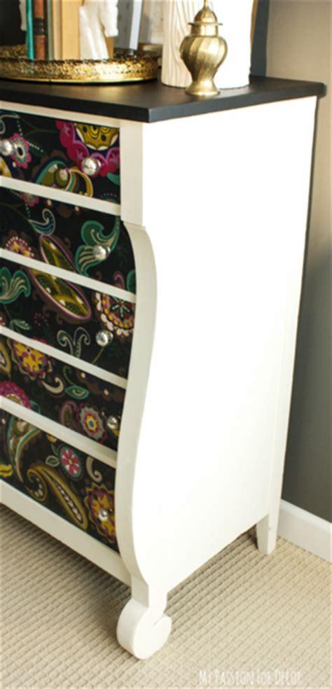 decoupage dresser with fabric hometalk dresser makeover using fabric and mod podge