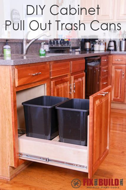 pull out kitchen cabinet diy pull out trash can fixthisbuildthat