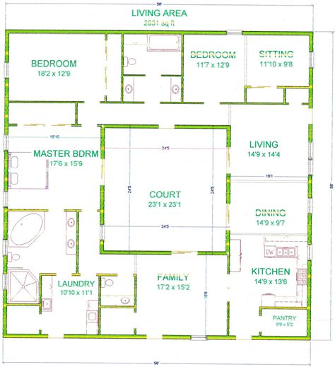 courtyard floor plans center courtyard house plans with 2831 square this