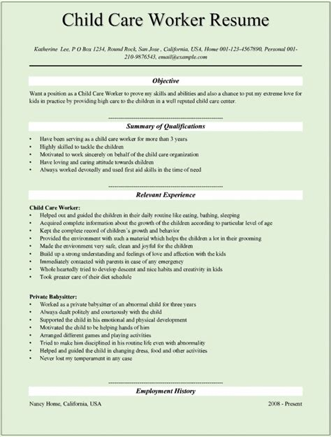 resume for first job template child care provider resume template learnhowtoloseweight net