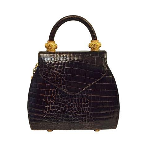 croc embossed leather handbags vincenza crocodile embossed leather bag at 1stdibs