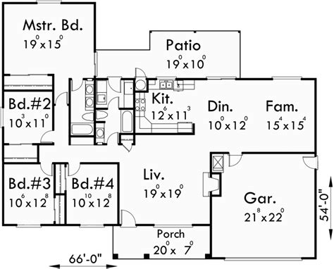 4 story house plans one story house plans ranch house plans 4 bedroom house plans