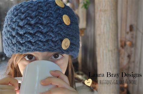 loom knit headband knit headband with wood buttons