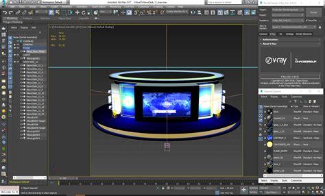 tv studio desk tv studio news desk 12 3d model furniture 3d