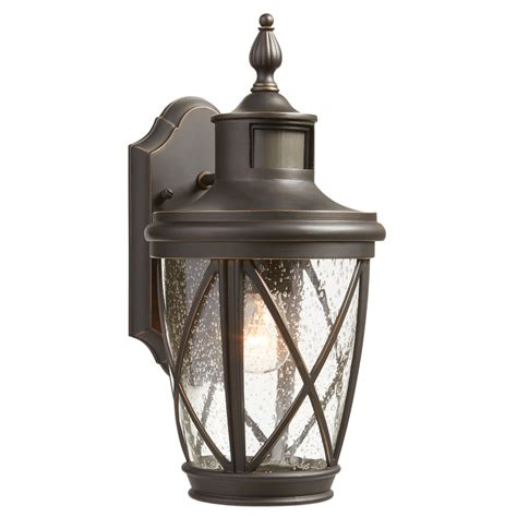 outdoor motion activated light shop allen roth castine 13 78 in h rubbed bronze motion