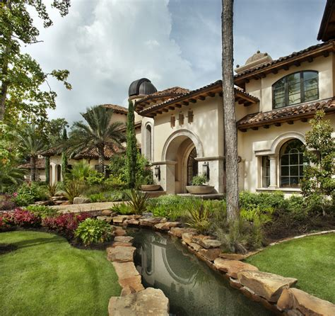 exterior landscaping river rock landscaping exterior mediterranean with arch