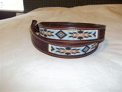 beaded belts western mens or western leather inset beaded belt
