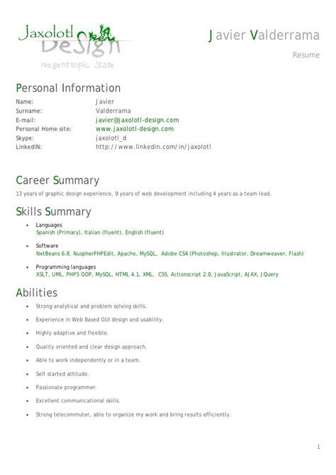 resume cv senior php developer javier valderrama