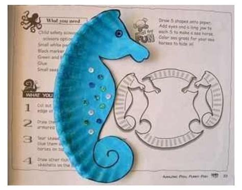 seahorse paper plate craft seahorse paper plate craft kiddie crafts