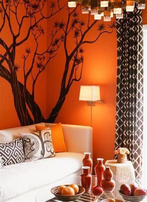orange walls decorating a living room in orange wall room decorating