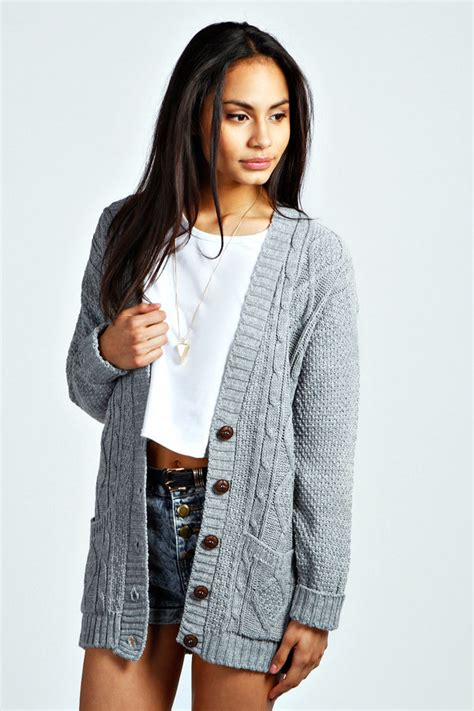 Grey Knit Cardigan Boohoo Poppy Cable Knit Cardigan