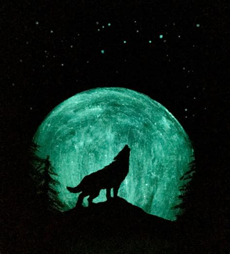glow in the wall painting wolf moon painting original glow in the sky