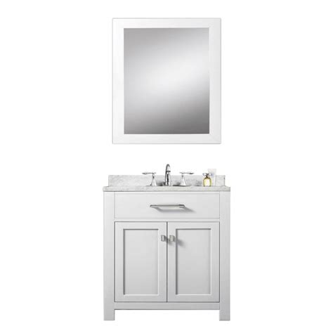 30 inch single sink bathroom vanity with carerra white