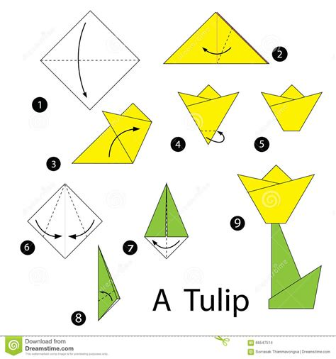 step by step how to make origami step by step how to make origami tulip stock