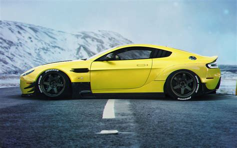 Supercar Wallpaper Yellow by Aston Martin Vanquish Yellow Supercar Side View 4k Iphone
