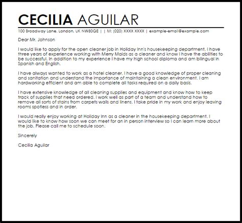 sample cover letter for a cleaner job cover letters