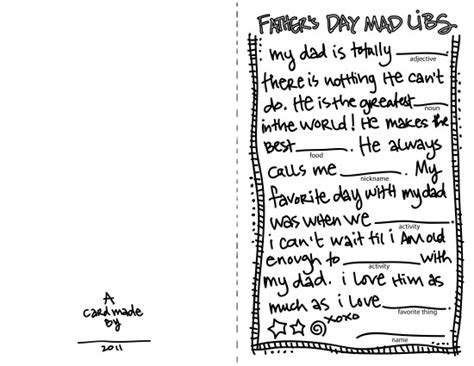 printable fathers day cards for to make s day madlibs card corfee