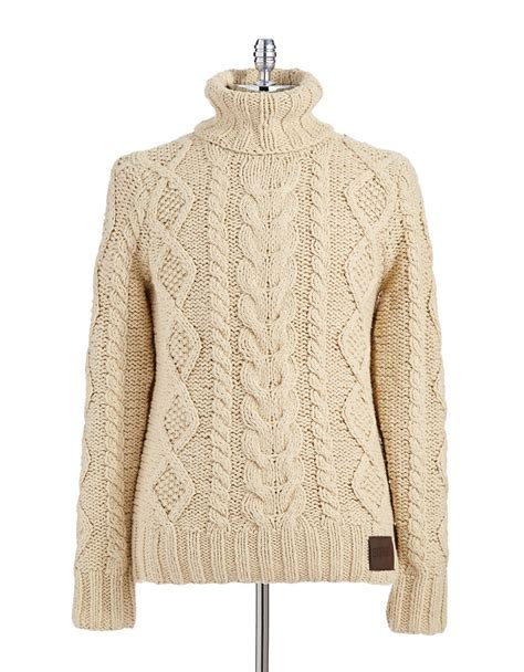 cable knit turtleneck superdry turtleneck cable knit sweater in beige for lyst