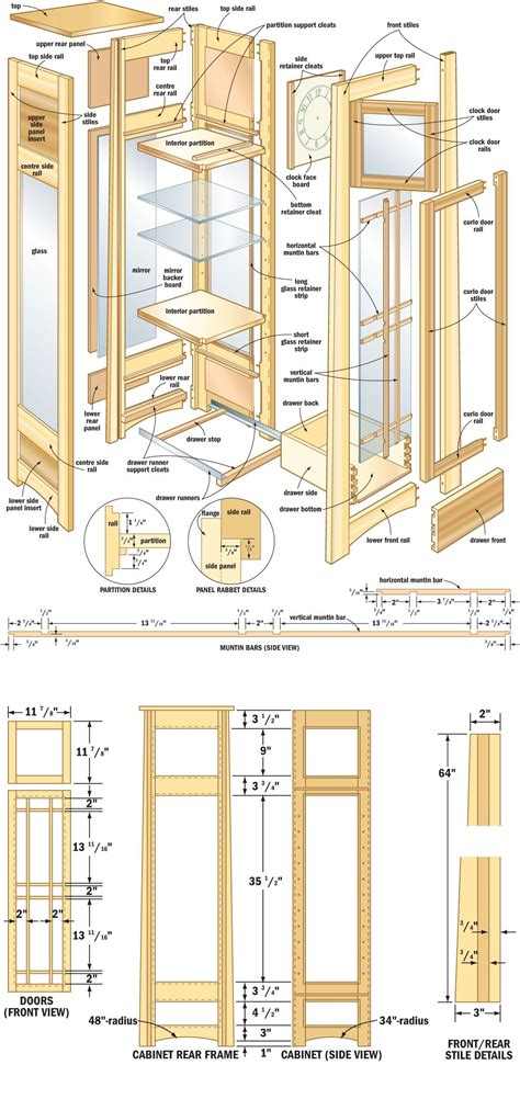 woodworking plans for cabinets free plans directions for a mission curio clock