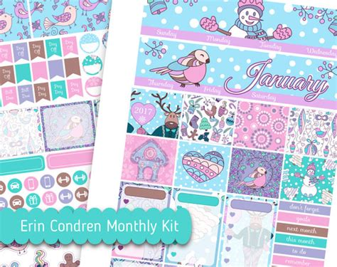 kits monthly january monthly kit printable snowman digital stickers erin