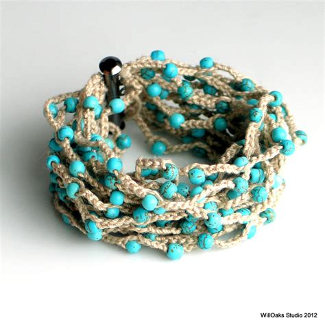 bead cuffs beaded crocheted cuff wide thick cotton bracelet by