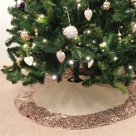 tree with skirt hessian tree skirt with gold sequin trim by