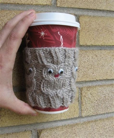 knitted cup cozy pattern my knitting basket owl coffee cup cozie pattern