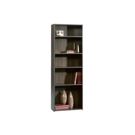 sauder bookcase 5 shelf 5 shelf bookcase in cinnamon cherry 409090