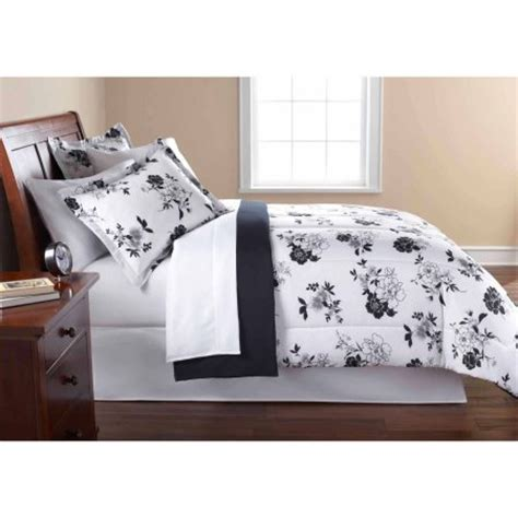 white and black bed set mainstays black and white floral bed in a bag bedding