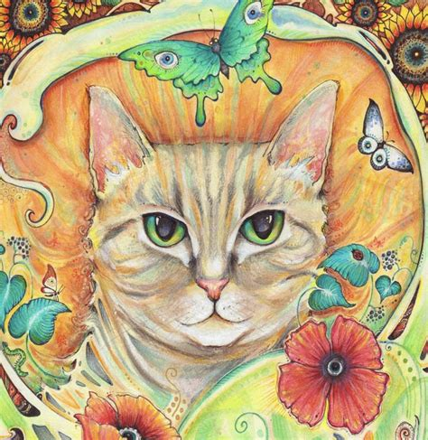 cat painting photos nouveau cat print from the original painting by liza