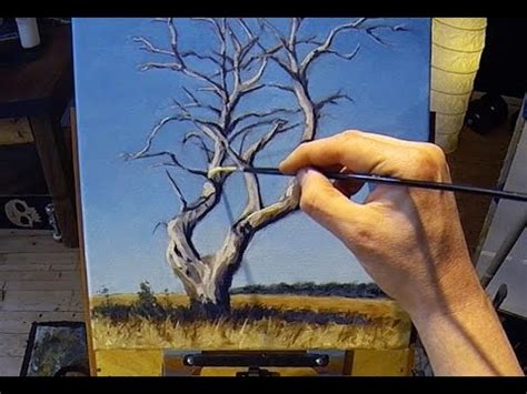 how to draw with acrylic paint on canvas how to paint a tree acrylic painting lesson grid