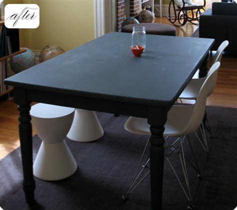 diy chalk paint dining table before after kate s chalkboard table design sponge