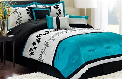 black white and blue comforter sets black and turquoise bedroom panda s house