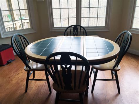 tile kitchen table furniture oblong green tile top kitchen table with 4