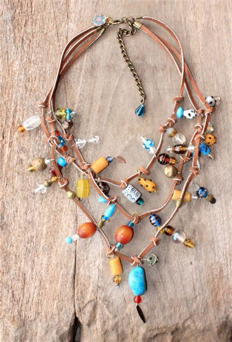 bohemian jewelry shining bohemian g ypsy leather necklace beaded with