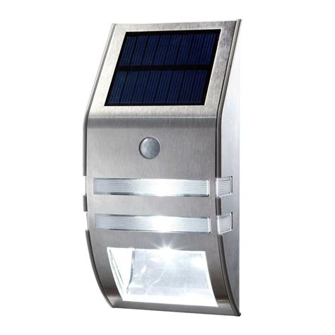 solar pir lights 1x silver led solar wall light pir motion sensor garden