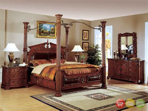 cherry bedroom furniture set traditional canopy bed w leather bedroom set w marble