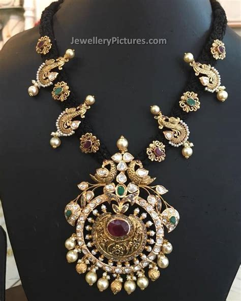 black necklace designs india south indian jewellery collections jewellery designs