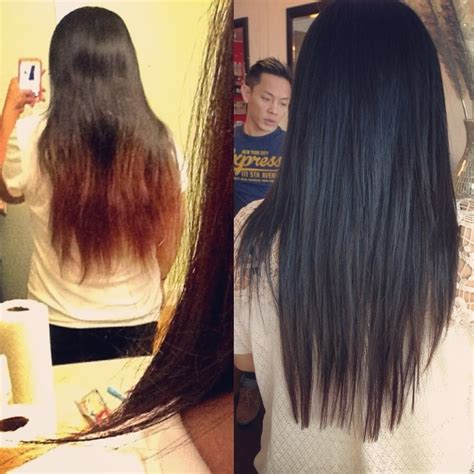 after ends before and after all the split ends colored highlighted