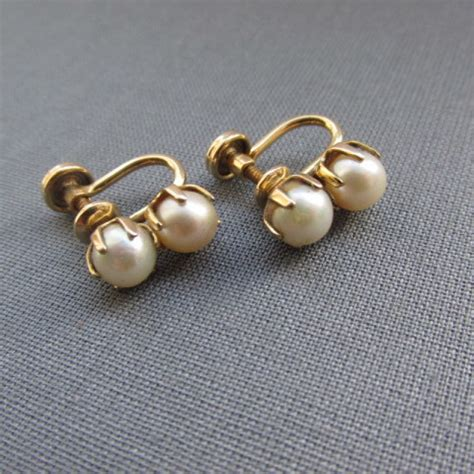 earrings with vintage pearl and gold finish earrings