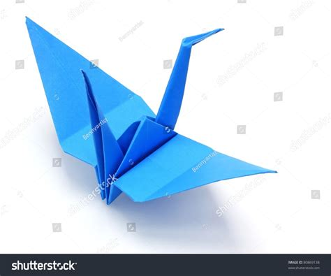 blue origami paper blue origami paper crane stock photo 80869138